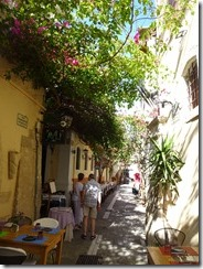 Tethymno restaurants on street
