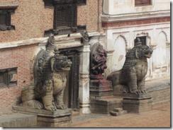 Bhaktapur Dunbar square lions guarding the door
