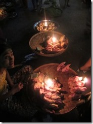 showing foods by candlelight