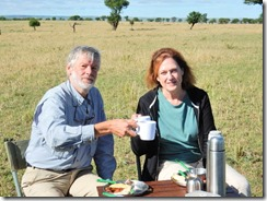 Tom and Joyce at breakfast on safari