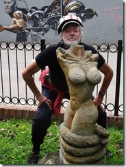 Tom and statue