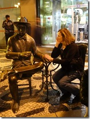 Joyce with statue