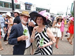 Joyce and Tom with mint julips and cigars