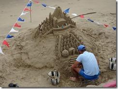 London sand sculptures by river - castle