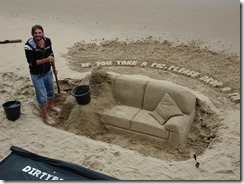 London sand sculptures by river - couch