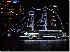 Lighted boats in Sydney harbor