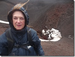 Joyce on Mt Etna with wind blowing