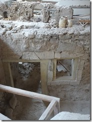 Akrotiri building with windows and door