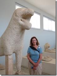 Delos lion statue in museum