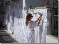 Fira - lots of white clothing being sold
