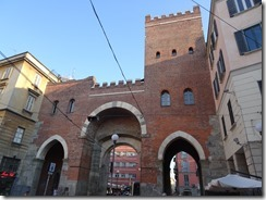 Milan - rebuilt gate by canal are