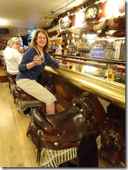 Joyce saddling up to the Cowboy bar for a drink