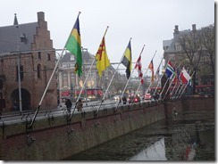 the Hague Binnenhof - flags over the canal