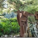 Outdoor sculptures admidst beautiful landscaping at Hawthorn Gallery