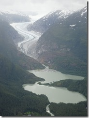 Glaciers and lakes on the way to Skagway